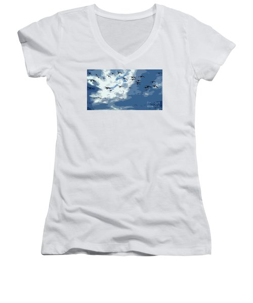 Leaving The Snow Behind Women's V-Neck (Athletic Fit)