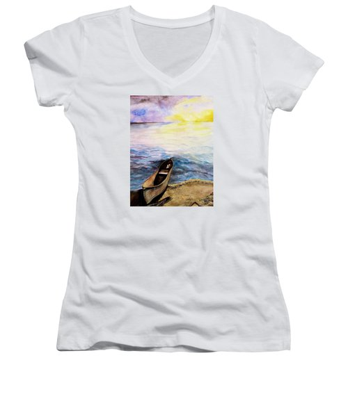 Women's V-Neck T-Shirt (Junior Cut) featuring the painting Left Alone by Lil Taylor