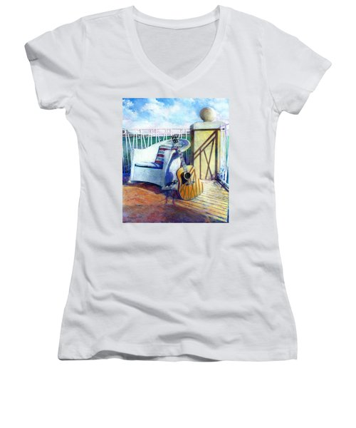 Women's V-Neck featuring the painting Lefty Left by Andrew King