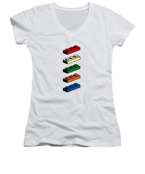Lego T-shirt Pop Art Women's V-Neck T-Shirt (Junior Cut) by Edward Fielding