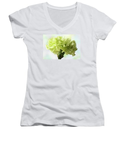 Women's V-Neck T-Shirt (Junior Cut) featuring the photograph Lemon Carnation by Terence Davis
