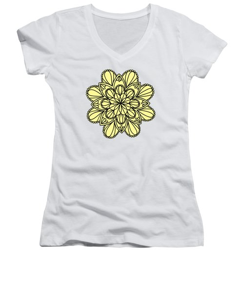 Lemon Lily Mandala Women's V-Neck T-Shirt (Junior Cut) by Georgiana Romanovna