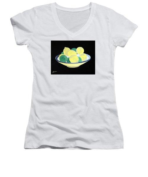 Lemons And Limes In Bowl Women's V-Neck T-Shirt