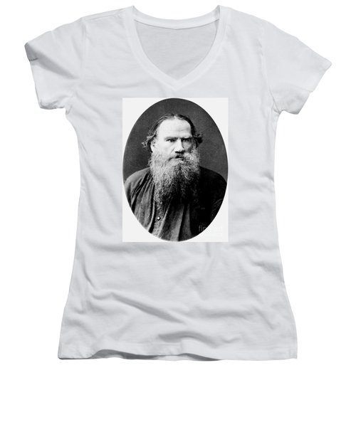 Women's V-Neck T-Shirt (Junior Cut) featuring the photograph Leo Tolstoy by Pg Reproductions