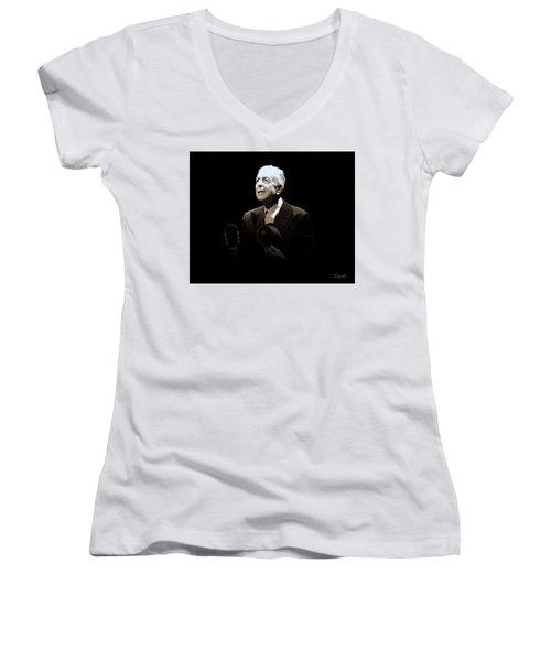 Portrait Of Leonard Cohen Women's V-Neck