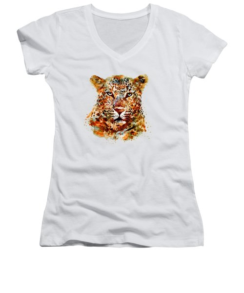 Leopard Head Watercolor Women's V-Neck T-Shirt (Junior Cut) by Marian Voicu