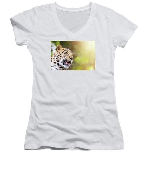 Leopard In Sunlight Women's V-Neck