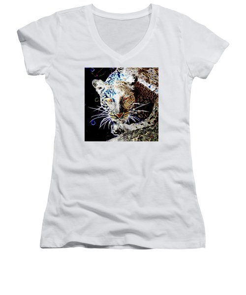 Women's V-Neck T-Shirt (Junior Cut) featuring the digital art Leopard by Zedi