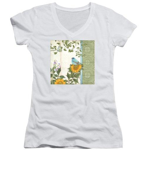 Les Magnifiques Fleurs Iv - Secret Garden Women's V-Neck T-Shirt (Junior Cut) by Audrey Jeanne Roberts