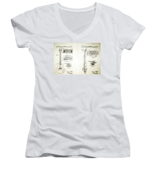 Les Paul Guitar Patent 1955 Women's V-Neck