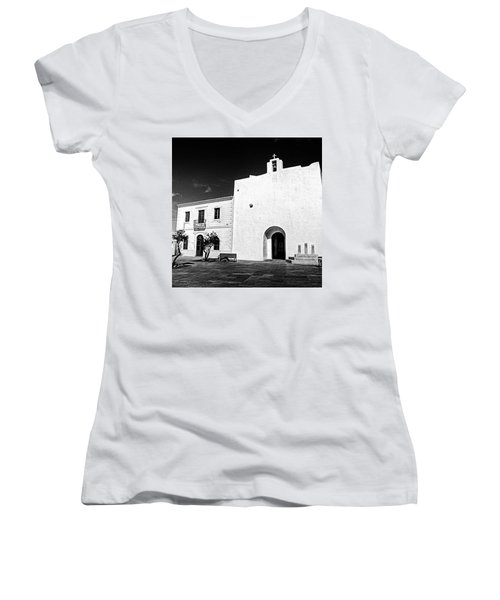Fortified Church, Formentera Women's V-Neck T-Shirt (Junior Cut) by John Edwards