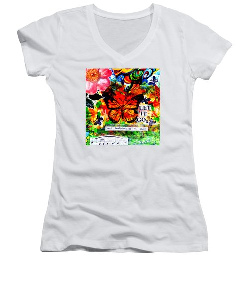 Women's V-Neck T-Shirt (Junior Cut) featuring the mixed media Let It Go by Genevieve Esson