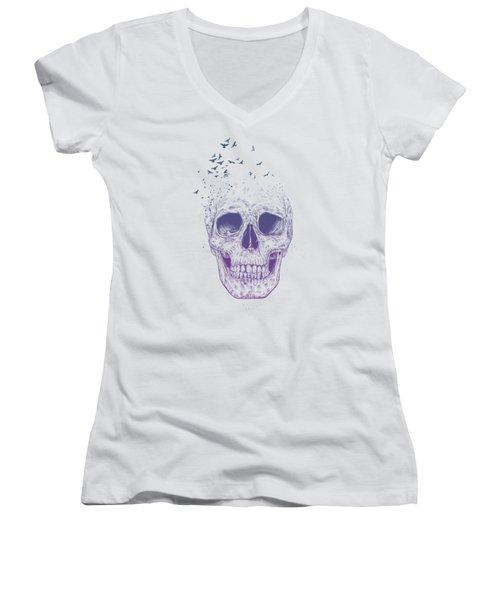 Let Them Fly Women's V-Neck T-Shirt (Junior Cut) by Balazs Solti