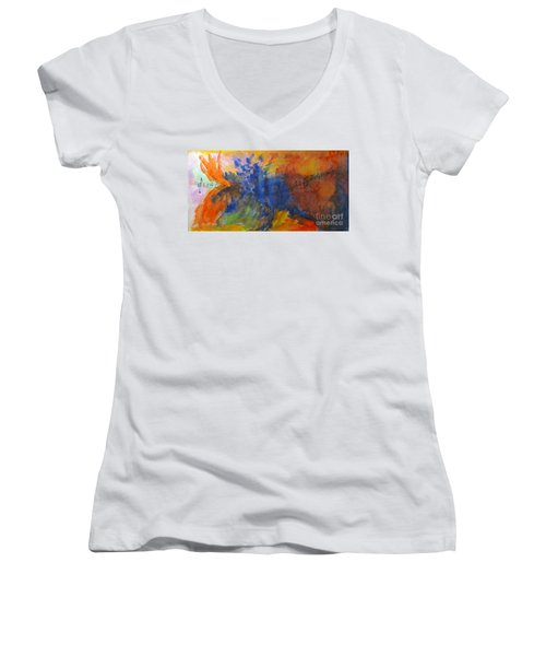 Let Your Music Take Wing Women's V-Neck T-Shirt (Junior Cut) by Sandy McIntire