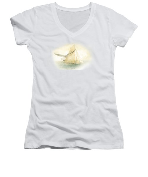 Women's V-Neck T-Shirt (Junior Cut) featuring the painting Let Your Spirit Soar by Chris Armytage