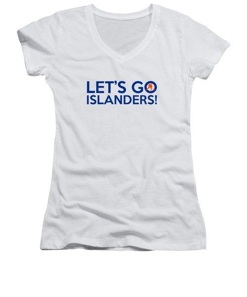 Let's Go Islanders Women's V-Neck T-Shirt (Junior Cut) by Florian Rodarte