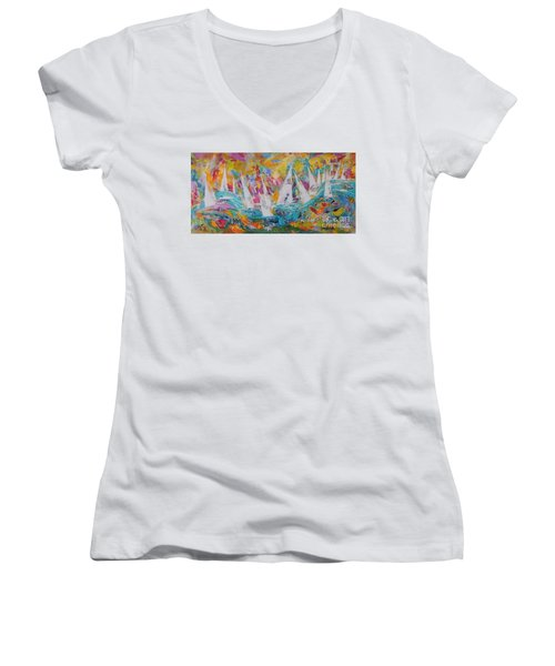 Women's V-Neck T-Shirt (Junior Cut) featuring the painting Lets Go Sailing by Lyn Olsen