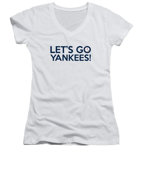 Let's Go Yankees Women's V-Neck T-Shirt (Junior Cut) by Florian Rodarte