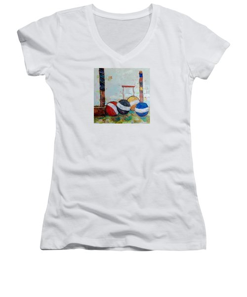 Let's Play Croquet Women's V-Neck T-Shirt