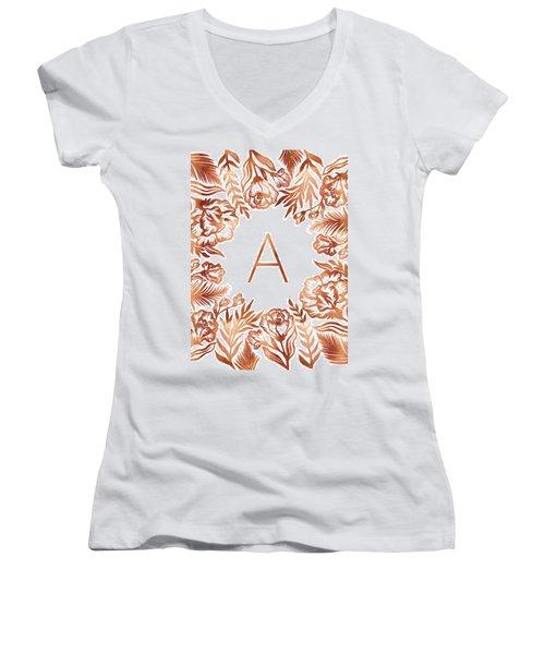 Letter A - Rose Gold Glitter Flowers Women's V-Neck