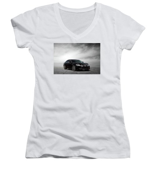 Women's V-Neck T-Shirt (Junior Cut) featuring the digital art Lexus Gs350 F Sport by Peter Chilelli