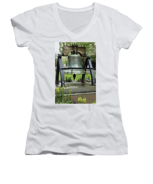 Women's V-Neck T-Shirt (Junior Cut) featuring the photograph Liberty Bell Replica by Mike Eingle