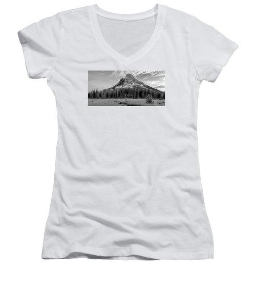 Liberty Mountain At Sunset Women's V-Neck T-Shirt (Junior Cut) by Jon Glaser