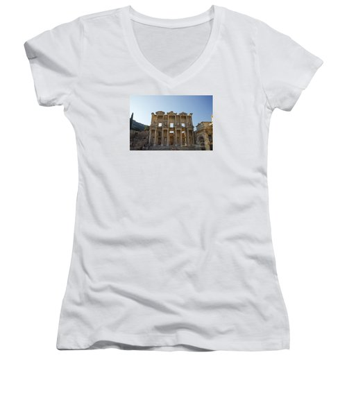 Women's V-Neck T-Shirt (Junior Cut) featuring the photograph Library Of Ephesus Or Celsus by Yuri Santin