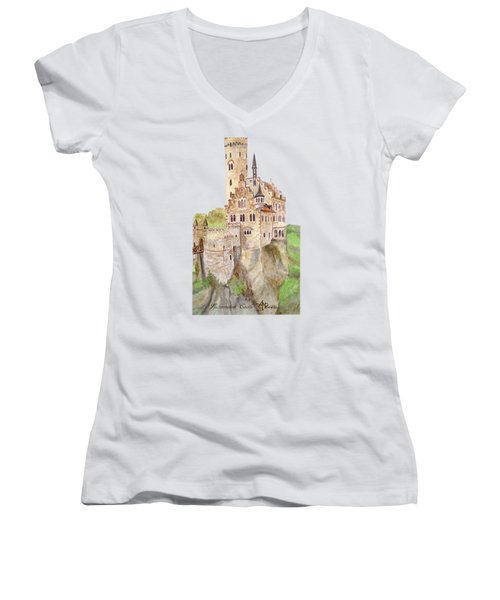 Lichtenstein Castle Women's V-Neck T-Shirt (Junior Cut) by Angeles M Pomata