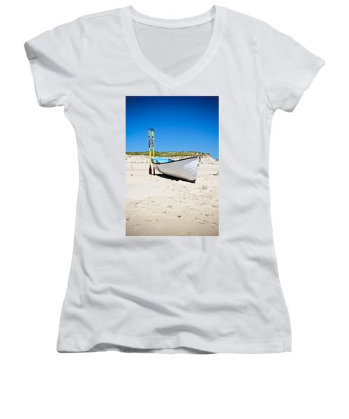 Lifeboat And Oars Women's V-Neck