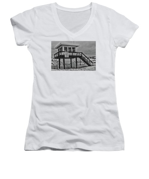 Lifeguard Station 1 In Black And White Women's V-Neck T-Shirt (Junior Cut) by Paul Ward