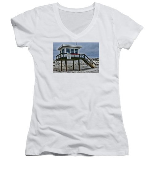 Women's V-Neck T-Shirt (Junior Cut) featuring the photograph Lifeguard Station 1 by Paul Ward
