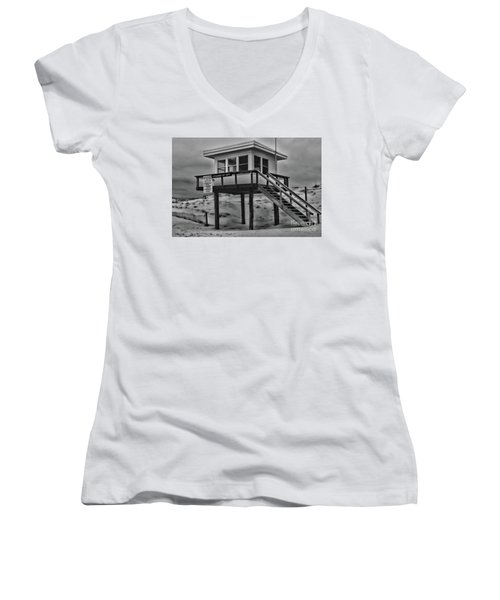 Lifeguard Station 2 In Black And White Women's V-Neck T-Shirt (Junior Cut) by Paul Ward