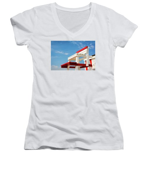 Lifeguard Station Women's V-Neck T-Shirt (Junior Cut) by Marion McCristall