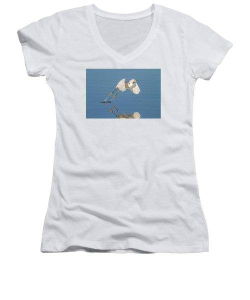 Lift Off- Snowy Egret Women's V-Neck (Athletic Fit)