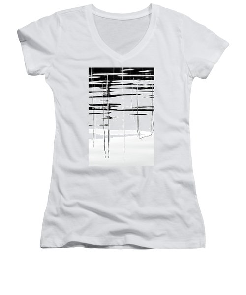 Light And Shadow Reeds Abstract Women's V-Neck (Athletic Fit)