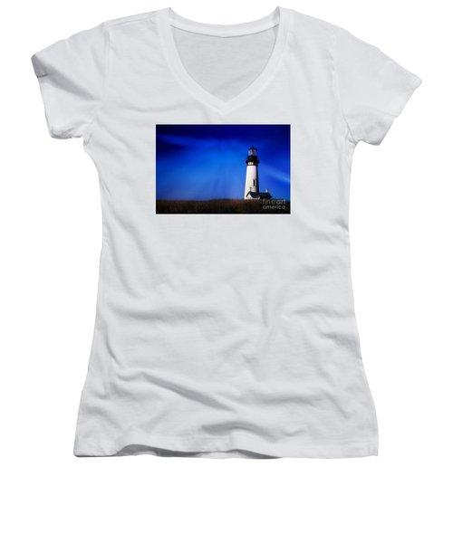 Light My Way Women's V-Neck T-Shirt (Junior Cut) by Sheila Ping