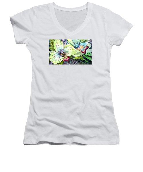 Light Of Orchids Women's V-Neck T-Shirt (Junior Cut) by Mindy Newman