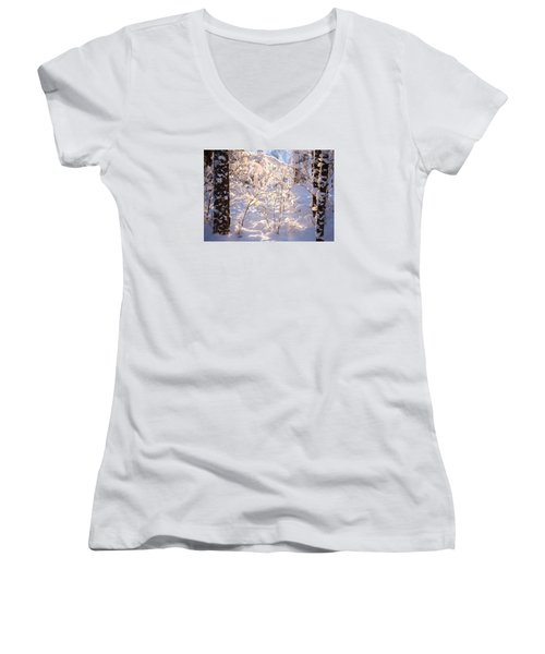 Women's V-Neck T-Shirt (Junior Cut) featuring the photograph Light Of Winter by Rose-Maries Pictures