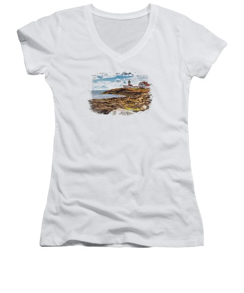 Light On The Sea Women's V-Neck T-Shirt (Junior Cut) by John M Bailey