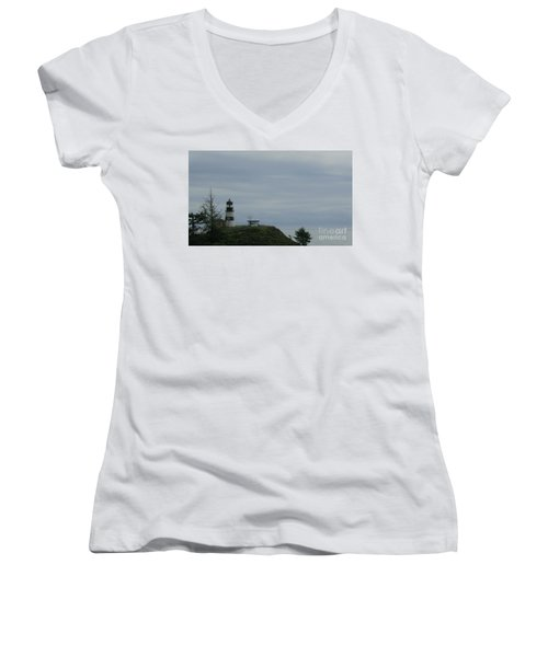 Lighthouse At Cape Disappointment Women's V-Neck