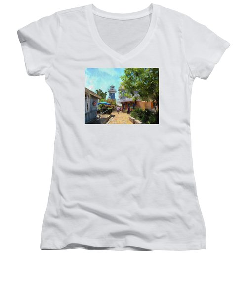 Lighthouse At Seaport Village Women's V-Neck (Athletic Fit)