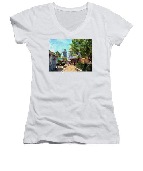 Lighthouse At Seaport Village Women's V-Neck T-Shirt