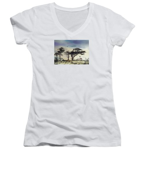 Women's V-Neck T-Shirt (Junior Cut) featuring the painting Lighthouse Coast by James Williamson