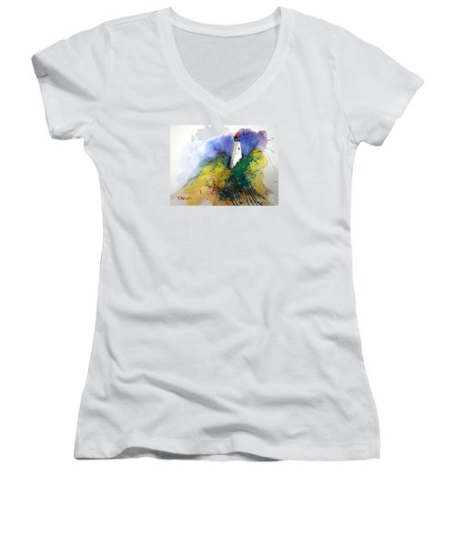Lighthouse IIi - Original Sold Women's V-Neck T-Shirt (Junior Cut) by Therese Alcorn