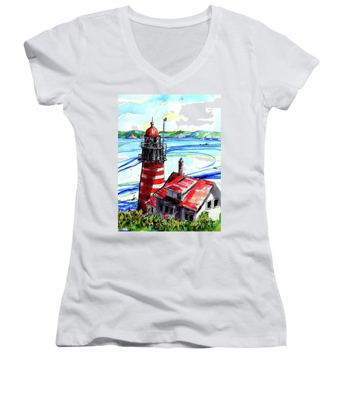 Lighthouse In Maine Women's V-Neck T-Shirt (Junior Cut) by Terry Banderas