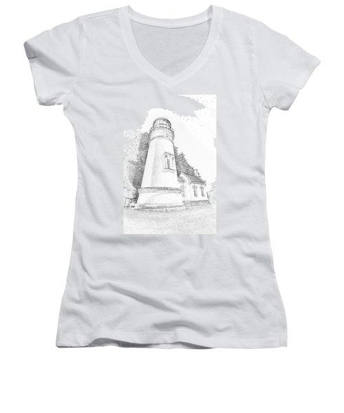 Lighthouse In Oregon Women's V-Neck