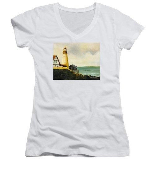 Lighthouse In Oil Women's V-Neck