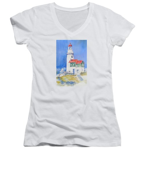 Women's V-Neck T-Shirt (Junior Cut) featuring the painting Lighthouse by Mary Haley-Rocks