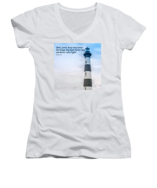 Lighthouse Scripture Verse Women's V-Neck (Athletic Fit)